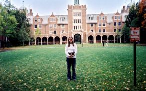 Karen in front of the dorms at Wellesley